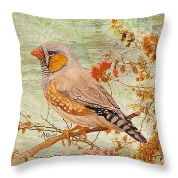 Throw Pillow featuring the painting Zebra Finch Among Almond Trees by Angeles M Pomata