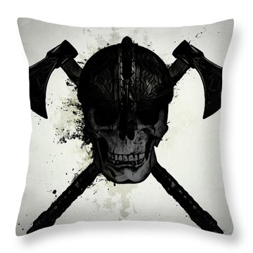 Viking Skull Throw Pillow