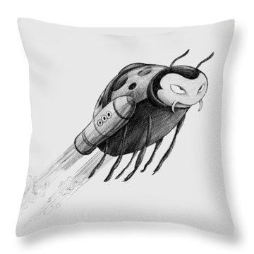 Lady Rocket Bug Throw Pillow