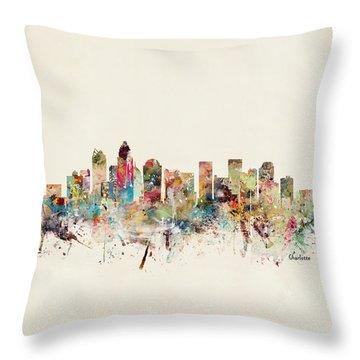 Charlotte City Skyline Throw Pillow