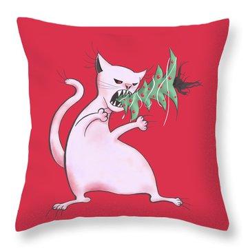 Funny White Cat Eats Christmas Tree Throw Pillow