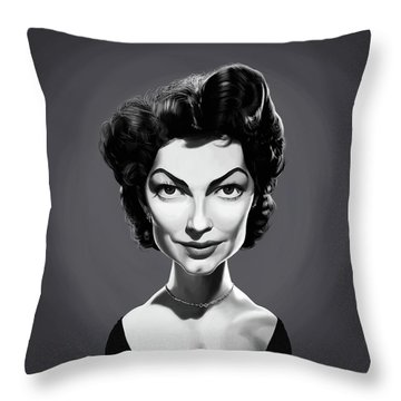 Throw Pillow featuring the digital art Celebrity Sunday - Ava Gardner by Rob Snow