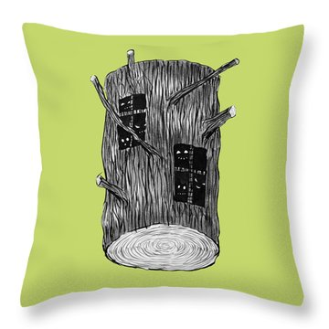 Tree Log With Mysterious Forest Creatures Throw Pillow
