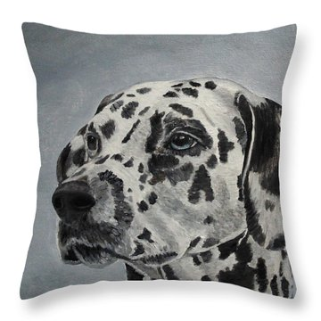 Throw Pillow featuring the painting Dalmatian Portrait by Angeles M Pomata