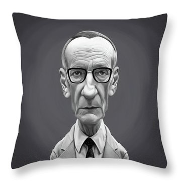 Throw Pillow featuring the digital art Celebrity Sunday - William Burroughs by Rob Snow