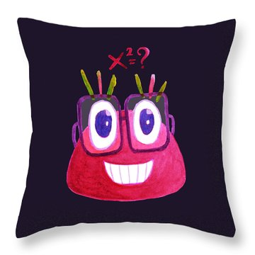 Cute Geek Mathematician Watercolor Candy Throw Pillow