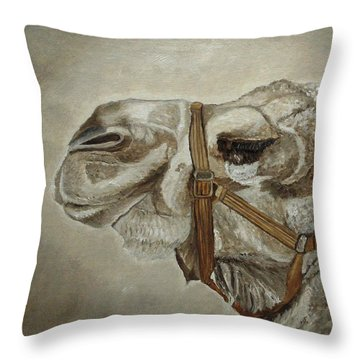Throw Pillow featuring the painting Camel Portrait by Angeles M Pomata