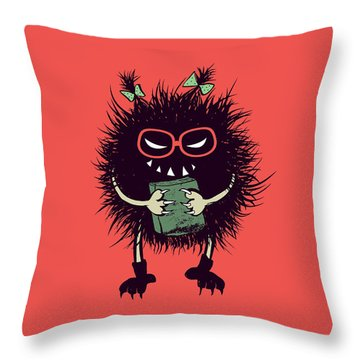 Geek Evil Bug Character Loves Reading Throw Pillow