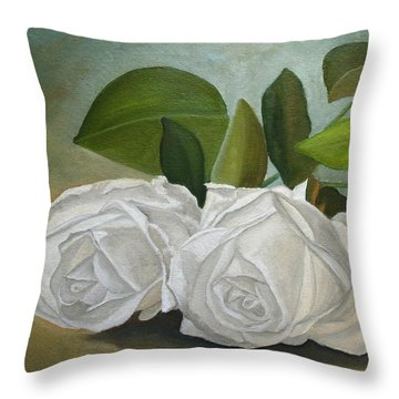 Throw Pillow featuring the painting White Roses by Angeles M Pomata