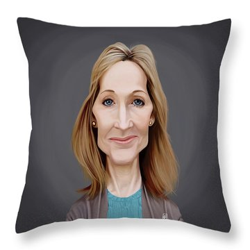 Throw Pillow featuring the digital art Celebrity Sunday - J.k.rowling by Rob Snow
