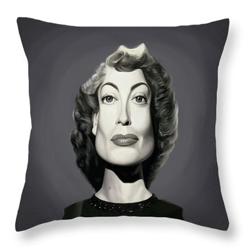 Throw Pillow featuring the digital art Celebrity Sunday - Joan Crawford by Rob Snow