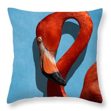 Curves, A Head - A Flamingo Portrait Throw Pillow
