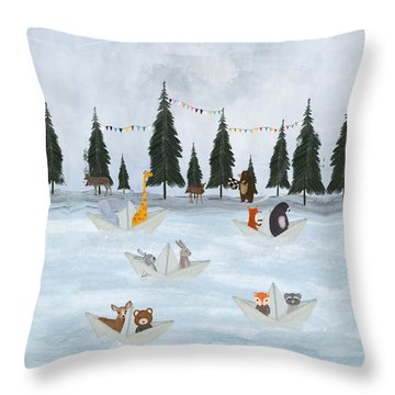 The Great Paper Boat Race Throw Pillow