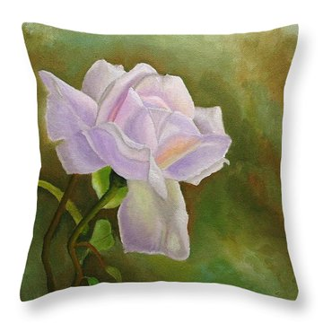 Throw Pillow featuring the painting A Single Rose by Angeles M Pomata