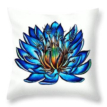 Weird Multi Eyed Blue Water Lily Flower Throw Pillow