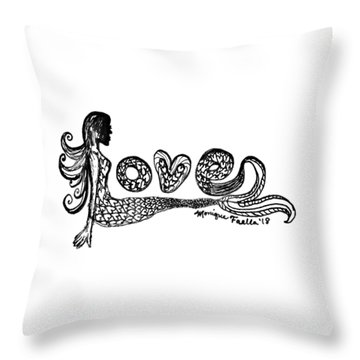 Throw Pillow featuring the drawing Mermaid Love by Monique Faella