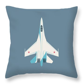 Su-27 Flanker Fighter Jet Aircraft - Slate Throw Pillow