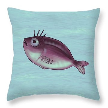 Funny Fish With Fancy Eyelashes Throw Pillow
