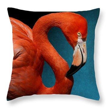 Profile Of An American Flamingo Throw Pillow