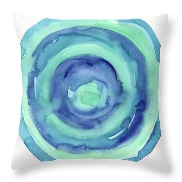 Abstract Watercolor Aqua Blues Throw Pillow