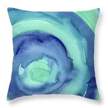 Abstract Watercolor Aqua Blues Throw Pillow