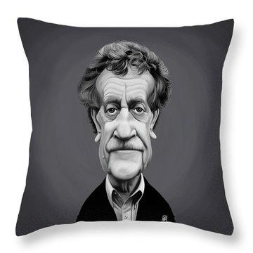 Throw Pillow featuring the digital art Celebrity Sunday - Kurt Vonnegut by Rob Snow