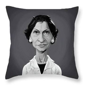 Throw Pillow featuring the digital art Celebrity Sunday - Coco Chanel by Rob Snow