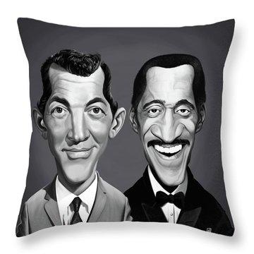Throw Pillow featuring the digital art Celebrity Sunday - Sammy Davis Jnr And Dean Martin by Rob Snow