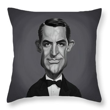 Throw Pillow featuring the digital art Celebrity Sunday - Cary Grant by Rob Snow