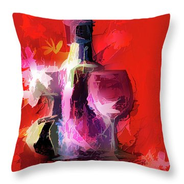 Fun Colorful Modern Wine Art   Throw Pillow
