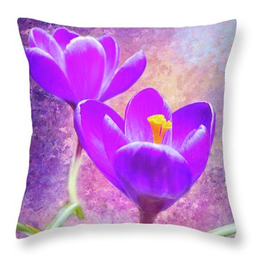 Our First Crocuses This Spring Throw Pillow