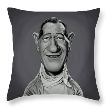 Throw Pillow featuring the digital art Celebrity Sunday - John Wayne by Rob Snow