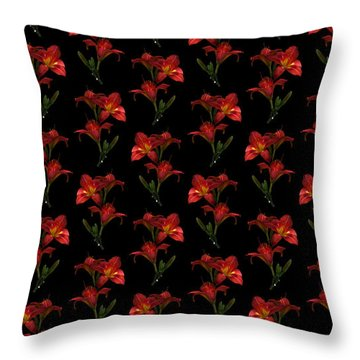 Portrait Of Red Lily Flowers Throw Pillow
