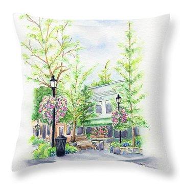 Across The Plaza Throw Pillow