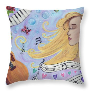 She Dreams In Music Throw Pillow