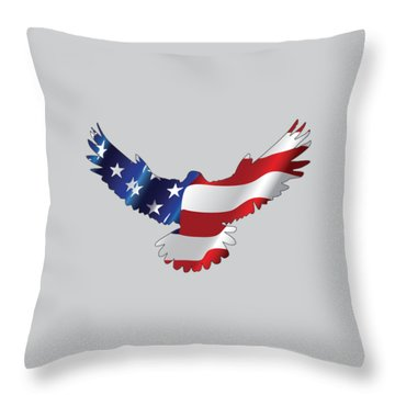 Stars And Striped Eagle Throw Pillow