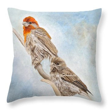 House Finch Couple Throw Pillow