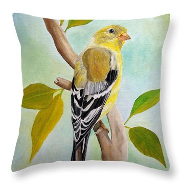 Pretty American Goldfinch Throw Pillow