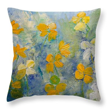 Blossoms In Breeze Throw Pillow
