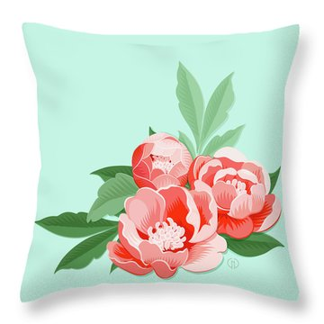 Peonies And Mint Throw Pillow