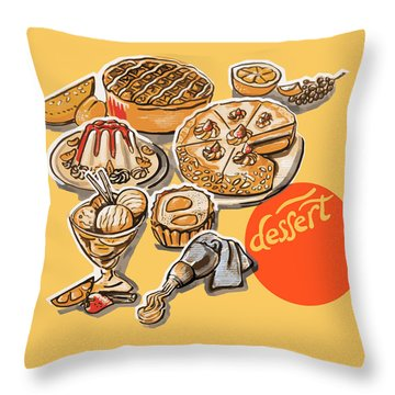 Kitchen Illustration Of Menu Of Desserts  Throw Pillow