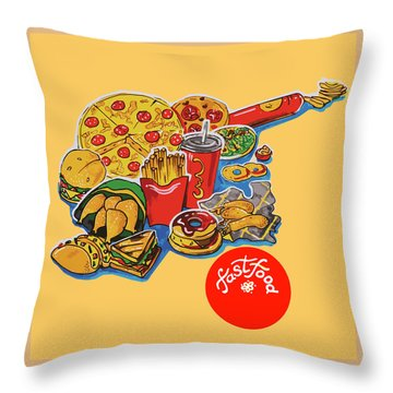 Kitchen Illustration Of Menu Of Fast Food  Throw Pillow
