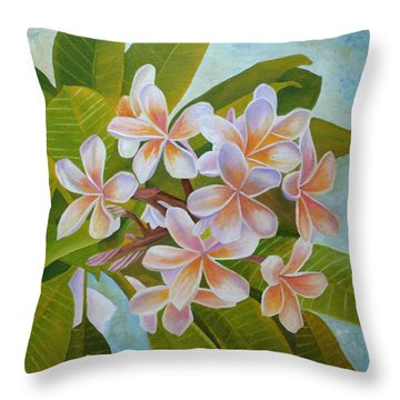 Throw Pillow featuring the painting Plumeria by Angeles M Pomata