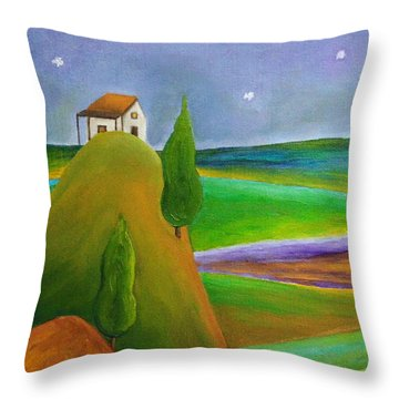 Throw Pillow featuring the painting Starry Summer Night by Angeles M Pomata