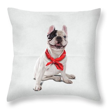 Throw Pillow featuring the digital art Frenchie Wordless by Rob Snow
