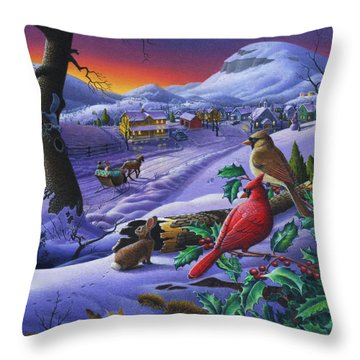 Christmas Sleigh Ride Winter Landscape Oil Painting - Cardinals Country Farm - Small Town Folk Art Throw Pillow
