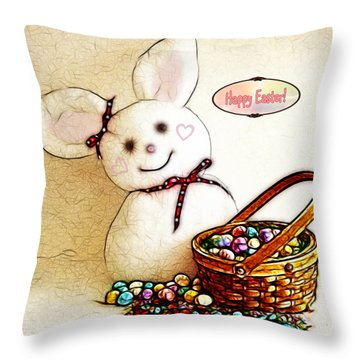 Bunny N Eggs Card Throw Pillow by Methune Hively