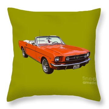 1965 Red Convertible Ford Mustang - Classic Car Throw Pillow