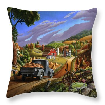 Autumn Appalachia Thanksgiving Pumpkins Rural Country Farm Landscape - Folk Art - Fall Rustic Throw Pillow
