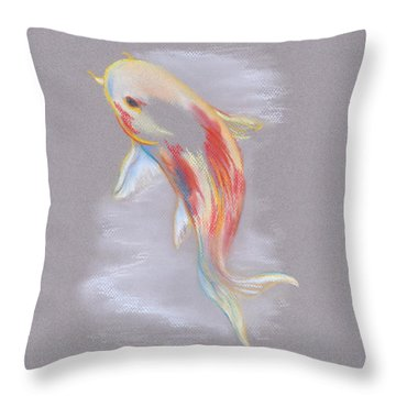 Throw Pillow featuring the pastel Koi Fish Swimming by MM Anderson